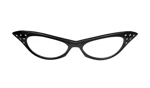 8b1351b363 Amazon.com  elope Black 50s Cat Eye Costume Glasses with Rhinestones ...