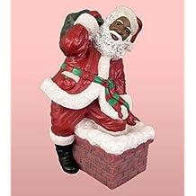 African American Christmas Santa Climbing the Chimney