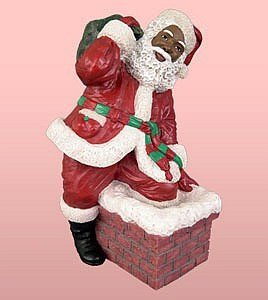 Santa Black Figurines (African American Christmas Santa Climbing the Chimney)