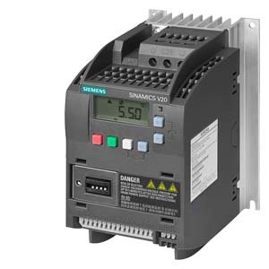 Siemens 6SL3210-5BB13-7UV0 SINAMICS V20 1AC200-240V -10/+10% 47-63HZ RATED POWER 0,37KW WITH 150% OVERLOAD FOR 60SEC UNFILTERED I/O-INTERFACE: 4DI, 2DO,2AI,1AO FIELDBUS: USS/ MODBUS RTU WITH INBUILT B