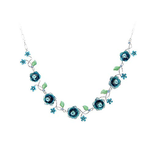(Glamorousky Elegant Rose Necklace with Blue Austrian Element Crystals (1025))