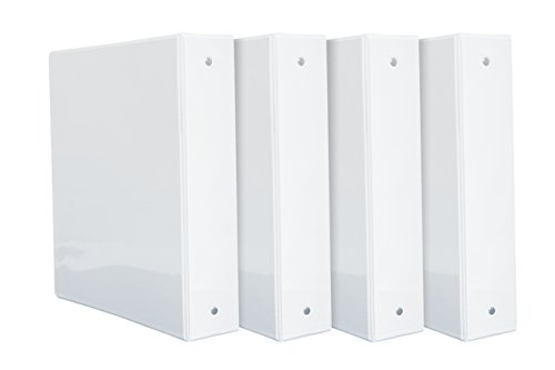 Paper 3 Ring Binders - 4 Pack 2'' 3-Ring Binders, Rugged Design for home, office, and school-For 8.5'' x 11'' paper, White, 4 Binders