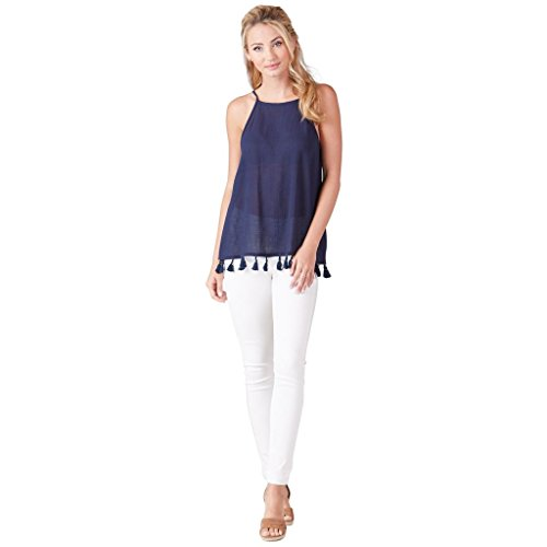 Domed Tassel - Mud Pie Women's Fashion Georgia Tassel Tank Navy (Medium)