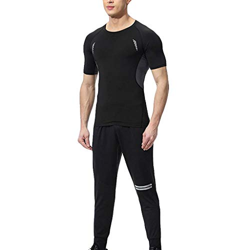 Outique Men's Sportswear Suit, Elastic Fitness Short T-Shirt Fast Drying Tops Pants Sports Tight Sauna Suit ()