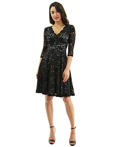 PattyBoutik Women 3/4 Sleeve Lace Overlay Fit and Flare Dress (Black and Gray Large)
