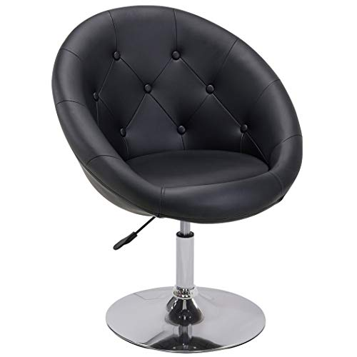 Duhome Jumbo Size Luxury White Synthetic Leather Contemporary Round Swivel Vanity Office Computer Accent Chair Tufted Adjustable Lounge Pub Bar Black