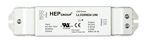 ROBERTSON 3P30071 LLV20W24UNI LED Driver, 20 Watt, 100-120Vac Input 833mA Constant Voltage, 24Vdc Output