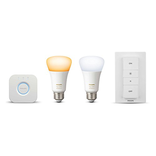 Philips Hue White Ambiance Smart Light Bulb Starter Kit (2 A19 Bulbs, 1 Bridge, and 1 Dimmer Switch, Works with Alexa, Apple HomeKit, and Google Assistant) (Certified Refurbished) by Philips (Image #1)