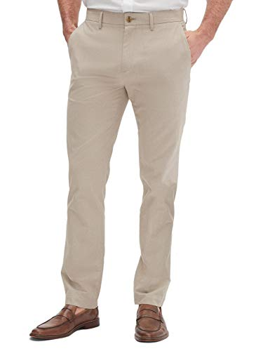 Banana Republic Mens Aiden Slim Fit Casual Chino Pants Khaki Beige Glen Plaid (34W x 32L)