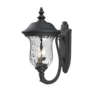 Armstrong 2 Light Outdoor Wall Lighting Frame Finish: Black, Size: 19.5
