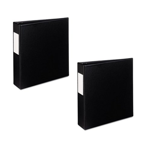 Avery Mini Durable Binder for 5.5 x 8.5 Inch Pages, 2-Inch Round Ring, Black, 27554 (2 Pack) (Avery Easy Access Reference Binders)