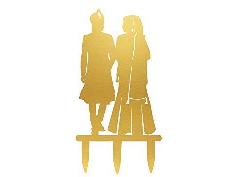 (SUNsing Indian Wedding Cake Topper, Sikh Bride and Groom Silhouette Cake Decor, Pakistan Wedding Cake Topper, Hindu Gold Cake Topper 862662)