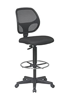 """Office Star Deluxe Mesh Back Drafting Chair with 18.5"""" Diameter Adjustable Footring, Black Fabric Seat (B0039MIMRO) 