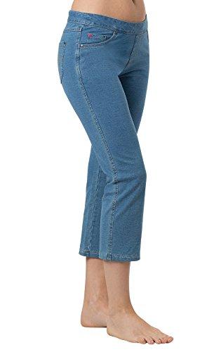 PajamaJeans - Bermuda Wash Stretch Knit Denim Capris for Women, Large / 12-14