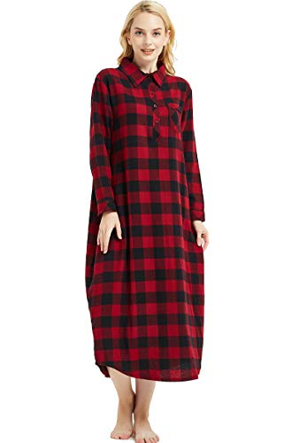Amoy madrola Women's Long Sleeve Plaid Flannel Nightgown/Cotton Full Length Sleepwear SY291-Red-M