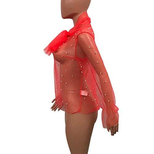 Maille Noir Tendance Haut Fille Manches Costume Printemps Casual Elgante Long Chemisiers Mode Perspective Rouge Perle Col Chic Dcor Party Rond Et Shirts Femme Jeune Tops HHPqwUxz