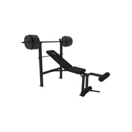 Deluxe Weight Bench Press Equipment Including a 100lbs Weight Set Bar Perfect for Home Gym Workouts Also Features Leg Preacher Curl Station and the Bench Is Adjustable for Incline Workouts and Regular Bench Press by CAP Barbell