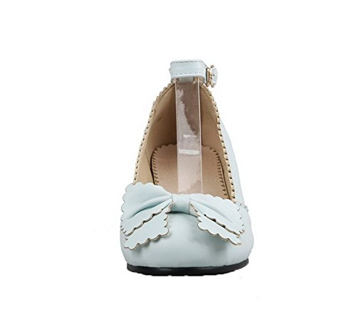 AalarDom Femme PU Cuir Fermeture d'orteil à Talon Bas Boucle Chaussures Légeres Bleu FwOl9