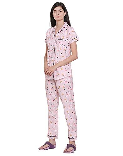 Moonlight Studio Minimal Pastel Flowers Women's Pajama Set, Night Suit, Lounge Wear, Shirt & Pyjama Dress