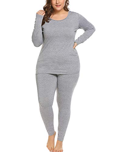IN'VOLAND Women's Plus Size Thermal Long Johns Sets Fleece Lined 2 Pcs Underwear Top & Bottom Pajama Set Gray (Best Places To Hike In Texas)