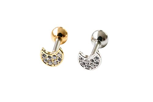 6g 16-Gauge Lucky Cartilage Daith Tragus Indutrial Barbell Boho Gypsy Sided Planet Sideways Half Sun Full Blue Crescent Sailor Luna Moon Moonstar Ear Studs Piercing Earring -FA (Vintage Black Sailor Girl Nose)