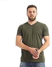 Kady Men V-neck short sleeves T-shirt-dk olive-2xl