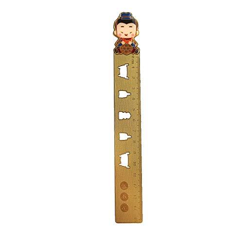 Terracotta Army Cartoon Brass Ruler Straight Ruler Measuring Tool Bookmark Stationery Office Supplies (Qin Xiaomeng) (Brass Cotta Terra)