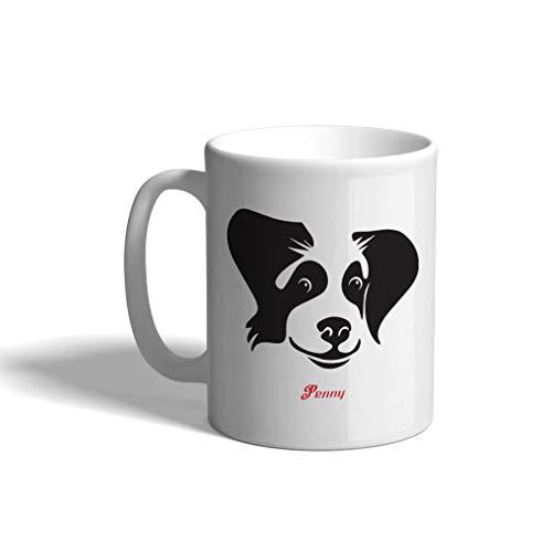 - Personalized Custom Text Border Collie Ceramic Coffee Cup White Mug