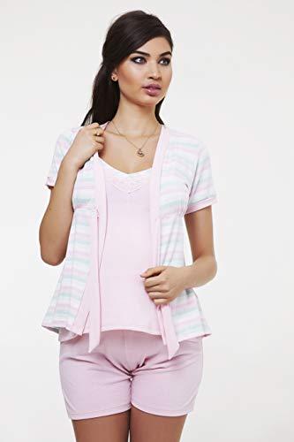 Pijama Gestante Curto 3 Peças Com Blusa Para Amamentação