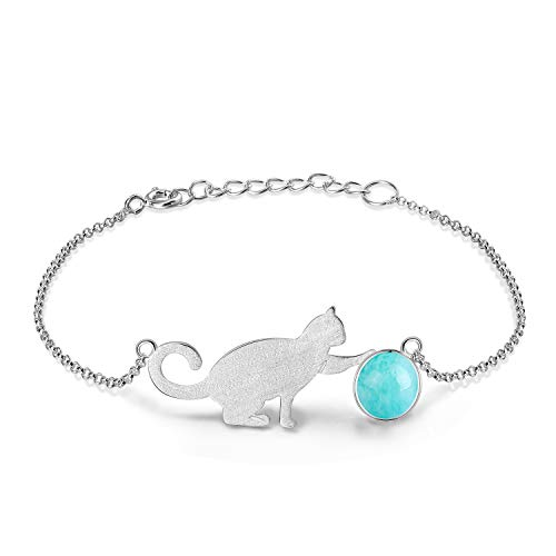 ing Silver Bracelet Cat Playing Balls Adjustable Bracelets with Chain Length 6.5''-7.6'', Handmade Unique Jewelry for Women and Girls (B. Blue) ()