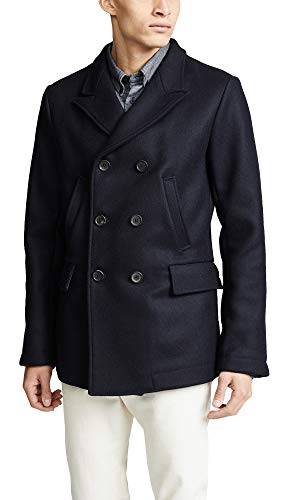 - Billy Reid Men's Wool Double Breasted Bond Peacoat with Leather Details, Navy Large