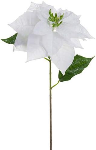 Amazon Com Silksareforever 27 Iced Velvet Artificial Royal Poinsettia Flower Stem White Pack Of 12 Home Kitchen
