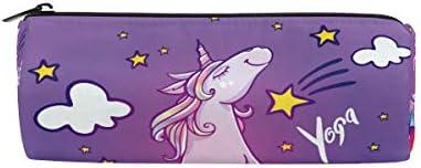 Divertido estuche de unicornio para hacer yoga, arcoíris, para lápices escolares, para niños, gran capacidad, para maquillaje, cosméticos, oficina, viajes, bolsa: Amazon.es: Oficina y papelería
