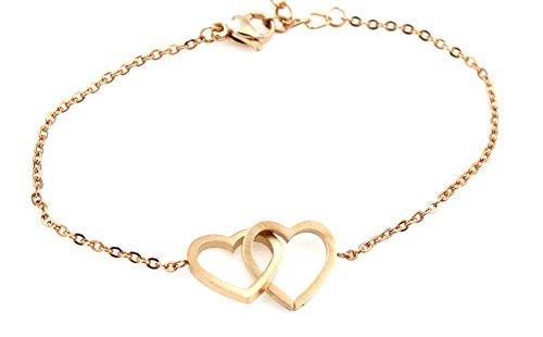 Charming Interlocking Heart Bracelet - Valentines Day - Love - Romance - Two Hearts - (Interlocking Hearts Bracelet)
