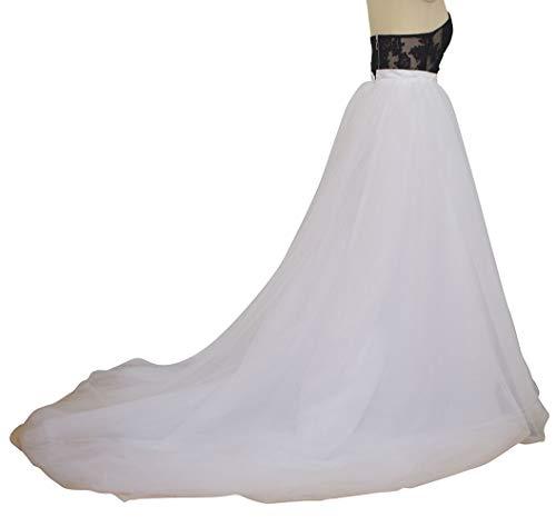 flowerry Women Wedding Detachable Train Overskirt Bridal Long Train Tutu Tulle Ball Skirt Ombre Color (S, White)