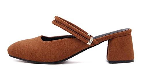 zapatos de Baotou en ante con los zapatos solo de cabeza cuadrada con zapatos sandalias gruesas Orange