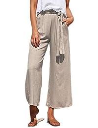 pujingge-CA Womens Palazzo Wide Leg Pant High Waist Casual Loose Flowy Pants