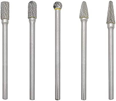 Polishing Metal Carving Engraving Double Cut 10pcs Tungsten Carbide Steel Rotary Files Burr Set 3mm Shank 6mm Cutting Head Diameter for Die Grinder Drill Carbide Burrs Set Drilling