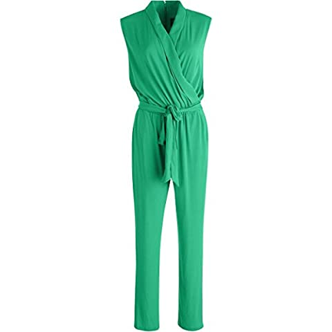 Vince Camuto Womens Sleeveless Matte Jersey Jumpsuit Green M - Matte Jersey Surplice