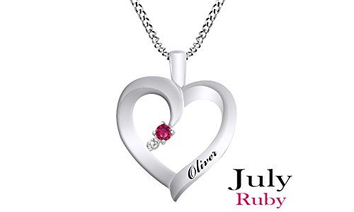Jewel Zone US Personalized Engravable Heart Shape Simulated Ruby Pendant Necklace 14 White Gold Over Sterling Silver - Custom Made Any Name