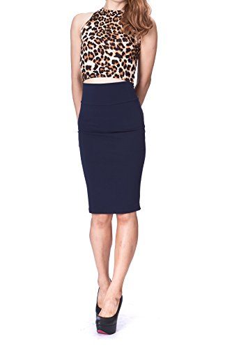 Dani's Choice Every Occasion Stretch Pull-on Wide High Waist Bodycon Pencil Knee Length Midi Skirt (S, Navy) by Dani's Choice