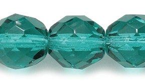 Preciosa Czech Fire 10mm Polished Glass Bead, Faceted Round, Transparent Light Emerald, 50-Pack