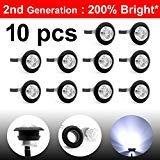 10 Pcs LedVillage 2nd Generation 3/4 Inch Mount White LED Clearance Bullet Marker lights, Side Led Marker for Truck Boat SUV ATV Bike Trailer Marine