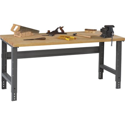 Tennsco Adjustable Workbench - Wood Top, 72in.W x 36in.D, Medium Gray, Model#...