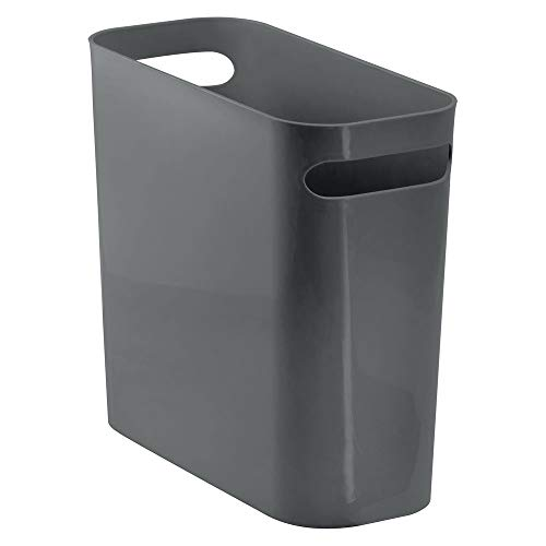 Office Wastebasket (mDesign Slim Plastic Rectangular Small Trash Can Wastebasket, Garbage Container Bin with Handles for Bathroom, Kitchen, Home Office, Dorm, Kids Room - 10