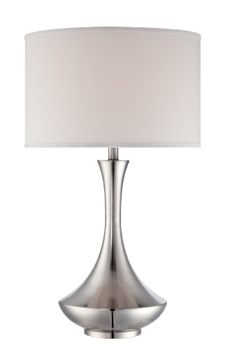 (Lite Source LSF-22079 Elisio Table Lamp, Polished Steel, Off-White Fabric Shade)
