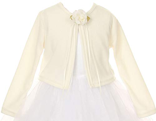 Aki_Dress AkiDress Flower Girl Long Sleeves Cardigan Sweater Jacket For Big Girl Ivory 6 KD.133