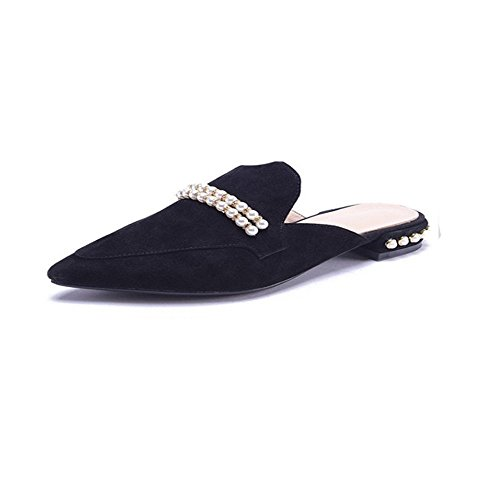 39 1 Perlas EU FangYOU1314 Zapatillas 3 Grueso Negro Planas tamaño Color Acentuado Negro con Cuero de xHwU4Pq