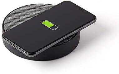 Lexon Oslo Energy – Wireless Charging Station and 5W Bluetooth Speaker – Black Grey