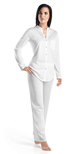 HANRO Women's Cotton Deluxe Long Sleeve Button Front Pajama, White, Small